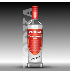 red vodka bottle mockup with your label vector image vector image
