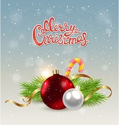 Christmas background with red decoration vector image vector image