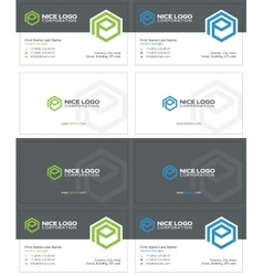E hexagon business card 2 vector