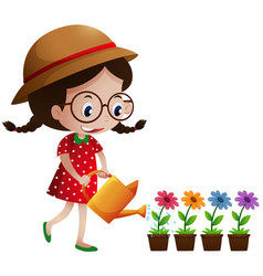 little girl watering the flowers vector image vector image