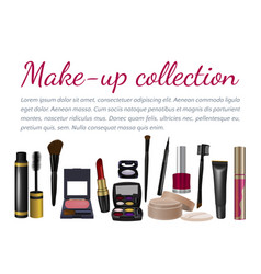 pearl frame with makeup set vector image vector image