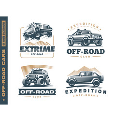 set of four off-road suv car monochrome labels vector image vector image