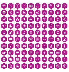 100 kids activity icons hexagon violet vector