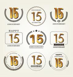 15 years anniversary logo set vector image