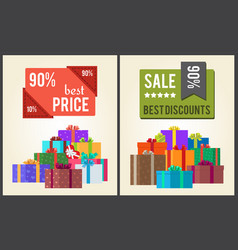 90 best price sale discounts labels with stickers vector
