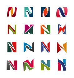 alphabet letter n business icons vector image