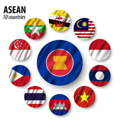 Asean flag association southeast asian vector