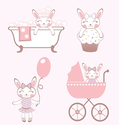 Baby bunnies collection vector
