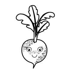 Black silhouette of beet caricature with stem and vector