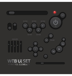 Black Web UI Elements Buttons Switches vector