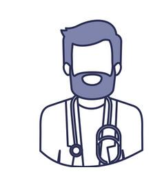 Blue contour of half body of faceless bearded vector
