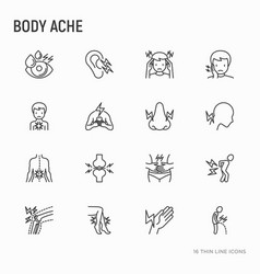 Body aches thin line icons set vector