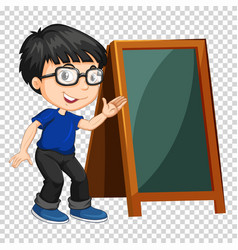 Boy and chalkboard on transparent background vector