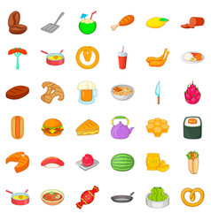 breakfast icons set cartoon style vector image
