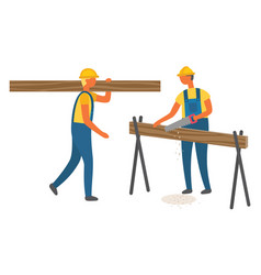 Builders carrying and sawing log timber vector