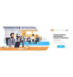 businessman boss workplace over team brainstorming vector image