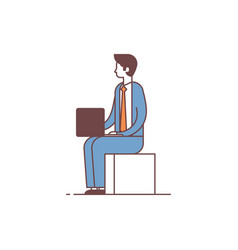 businessman sitting pose using laptop business man vector image