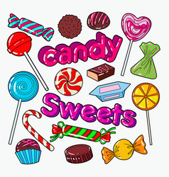 Candies sweet food doodle with chocolates vector