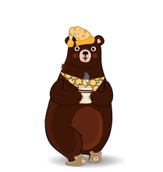 cartoon bear in slippers and night cap holding vector image