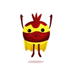 Cartoon of pomegranate superhero vector