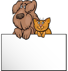Cat and dog with card cartoon design vector