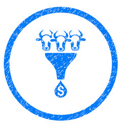 Cattle profit funnel rounded grainy icon vector