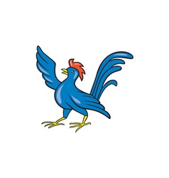 Chicken rooster wing pointing cartoon vector