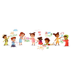 Children drawing with pencils vector