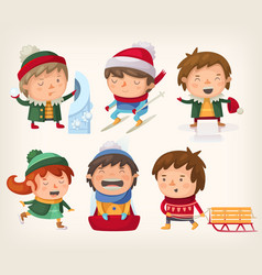 children in winter vector image