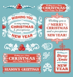 Christmas retro banner label collection vector