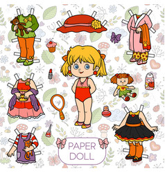 colorful set paper doll and clothes vector image