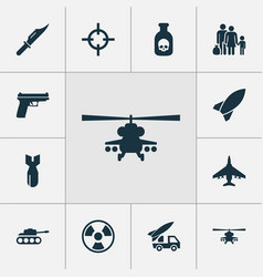 Combat icons set with chopper cutter ordnance vector