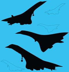 Concord aircraft silhouettes vector image