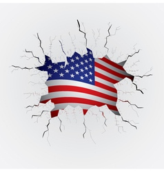 Cracked plaster with USA flag vector image