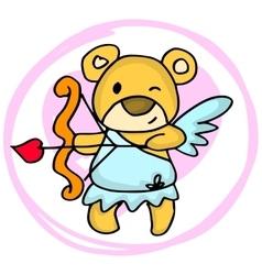 Cupid bear cartoon valentine days vector image