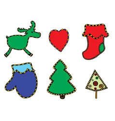 Cute Christmas stickers set vector image