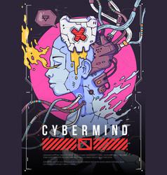 cyber girl face concept futuristic vector image