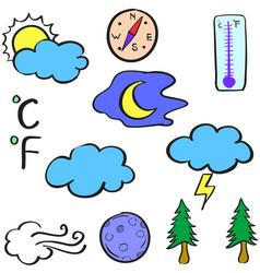 Doodle of weather cloud tree wind vector
