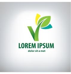 ecology logo - green design - growth vector image