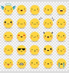 Emoticons transparent set vector