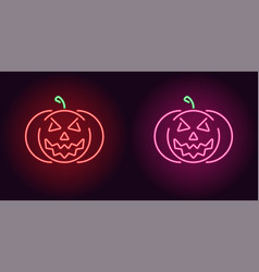 Evil neon pumpkin in red and pink color vector