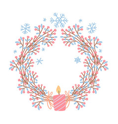 festive wreath with candle hygge christmas vector image