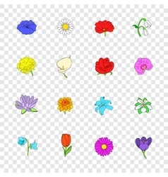 Flower icons set pop-art style vector