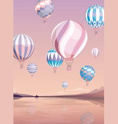 Flying air balloons flat vector