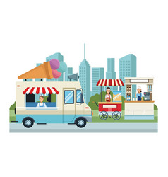 Food booth and shops vector