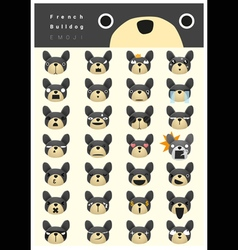 French bulldog emoji icons vector image
