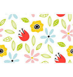 garden flower plants botanical seamless pattern vector image