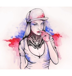 girl in a cap and tattoos vector image