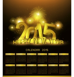 Gold Platinum calendar 2015 and Happy New Year vector