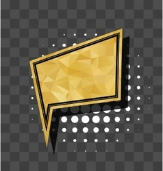 Gold square sparkle comic text bubble vector image